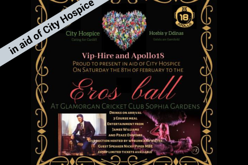 Our supporters at VIP Hire are holding the Eros ball in aid of City Hospice.